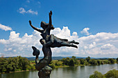 Sculpture on the Danube bridge near Wörth, Danube, Bavaria, Germany