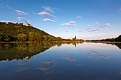 View across the Danube to the Pilgrimage Church of the Assumption on the Bogenberg near Bogen, Danube, Bavaria, Germany