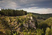 Rock plateau near Pottenstein, Franconian Switzerland, Franconia, Bavaria, Germany