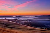 Morgenstimmung, Blick von der Wasserkuppe, Rhön, Hessen, Deutschland