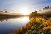 Morgenstimmung, Moorsee am Roten Moor, Rhön, Hessen, Deutschland