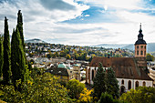 Panorama with collegiate church, Baden-Baden, Black Forest, Baden-Württemberg, Germany