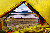 View of the Yukon River from the yellow tent. Yukon, Canada; Whitehorse