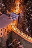 France, Savoie, Valfrejus, Modane, Maurienne valley, torchlight descent to the chapel Notre Dame du Charmaix