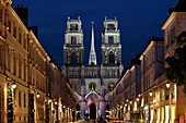 France, Loiret, Orleans, Orléans Cathedral, western facade from Jeanne d'Arc street, Light scenography by Virginie Voue