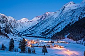 France, Savoie, Champagny en Vanoise, Champagny le Haut, massif of La Vanoise, the hamlet of Bois Dessous with views of the Grande Casse (3855m) and the Grande Motte (3653m)