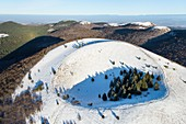 France, Puy de Dome, area listed as World Heritage by UNESCO, Ceyssat, Chaine des Puys, Regional Natural Park of the Auvergne Volcanoes, the Puy de Come (aerial view)