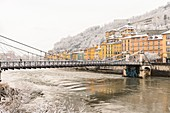 France, Isere, Grenoble, Saint Laurent district on the right bank of Isere river, Saint Laurent footbridge built in 1837, modernized in 1909 and occupying the site of the first bridge in the city