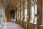 France, Dordogne, Perigord Noir, Le Buisson de Cadouin, the cloister of the former cistercian abbey in flamboyant gothic style, stage on the route to Compostella listed as World Heritage by UNESCO