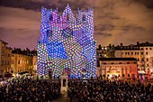 France, Rhone, Lyon, district of Vieux-Lyon, historical site listed as World Heritage by UNESCO, the Lyon Cathedral (Cathedrale Saint-Jean-Baptiste de Lyon) during the Fete des Lumieres (Light Festival), show Color or Not of Yves Moreaux