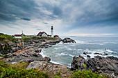 Portland Head Light, historic lighthouse in Cape Elizabeth, Maine, New England, United States of America, North America
