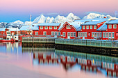 Pink sunset over the typical red houses reflected in the sea, Svolvaer, Lofoten Islands, Arctic, Norway, Scandinavia, Europe