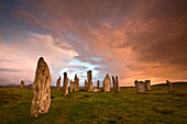 Standing Stones of Callanish at dawn, Callanish, near Carloway, Isle of Lewis, Outer Hebrides, Scotland, United Kingdom, Europe
