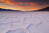 Sunset at the Salt pan polygons, Badwater Basin, 282ft below sea level and the lowest place in North America, Death Valley National Park, California, United States of America, North America