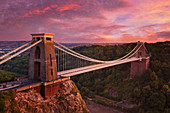 Clifton Suspension Bridge at sunset, Clifton Downs, Bristol, England, United Kingdom, Europe