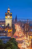 Princes Street, Balmoral Hotel and Edinburgh City centre at night, Edinburgh, Midlothian, Scotland, United Kingdom, Europe