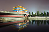 North gate of The Forbidden City reflected in moat, Palace Museum, UNESCO World Heritage Site, Beijing, China, Asia
