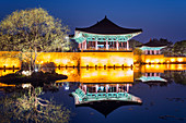 Anapji pond, Imhaejeon site, UNESCO World Heritage Site, Geongju, Gyeongsangbuk-do, South Korea, Asia