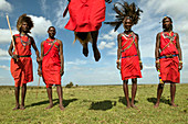 Masai performing warrior dance, Masai Mara, Kenya, East Africa, Africa