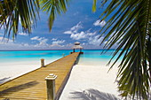 Jetty leading out to tropical sea, Maldives, Indian Ocean, Asia