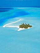 Luftaufnahme einer Insel im Nord-Male-Atoll, Malediven, Indischer Ozean, Asien