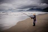 Beach fisherman, Vietnam, Indochina, Southeast Asia, Asia