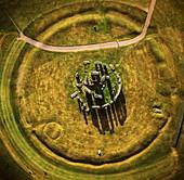 Aerial image of Stonehenge, prehistoric monument and stone circle, UNESCO World Heritage Site, Salisbury Plain, Wiltshire, England, United Kingdom, Europe