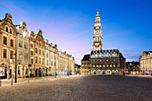 Place des Heros and the Town Hall and belfry floodlit at night, Arras, Pas-de-Calais, Hauts-de-France region, France, Europe