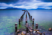 Old pier at Puerto Natales, Ultima Esperanza Province, Chilean Patagonia, Chile, South America, South America