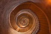A spiral staircase inside Notre Dame de Fourviere, Lyon, Rhone, Rhone-Alpes, France, Europe