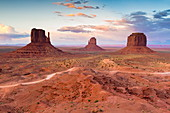 Monument Valley at dusk on the Utah and Arizona border, United States of America, North America