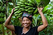 Eine Frau balanciert Bananenstaude auf ihrem Kopf, Manipur Bereich, Indien, Asien