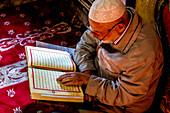 Macedonian Muslim reading the Koran, Pasha Mosque, the painted mosque of Tetovo, Republic of Macedonia, Europe