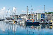 Boats in Sutton Harbour Marina, The Barbican, Plymouth, Devon, England, United Kingdom, Europe