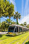 Straßenbahn in Nizza, Alpes Maritimes, Côte d'Azur, Französische Riviera, Provence, Frankreich, Mittelmeer, Europa