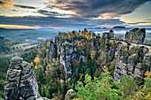 Cloud mood over Bastei, Elbe Sandstone Mountains, Saxon Switzerland National Park, Saxon Switzerland, Saxony, Germany