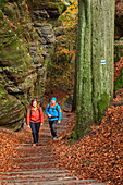 Man and woman hiking in the Elbe Sandstone Mountains, Bastei, Elbe Sandstone Mountains, Saxon Switzerland National Park, Saxon Switzerland, Saxony, Germany