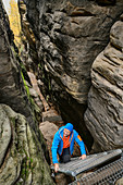 Man climbs up ladder through gorge to Gohrisch, Gohrisch, Elbe Sandstone Mountains, Saxon Switzerland National Park, Saxon Switzerland, Saxony, Germany