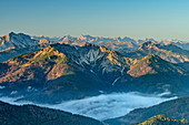 Autumn mood over Bavarian Alps and Karwendel with Guffert and Schinder, from Auerspitz, Spitzing area, Bavarian Alps, Upper Bavaria, Bavaria, Germany