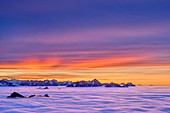 Sunset glow over Heuberg, Karwendel and Wendelstein with sea of fog, Hochries, Chiemgau Alps, Chiemgau, Upper Bavaria, Bavaria, Germany