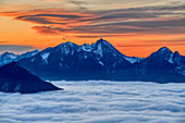 Cloudy mood at sunset over Wendelstein and sea of fog in the Inn Valley, Heuberg, Chiemgau Alps, Chiemgau, Upper Bavaria, Bavaria, Germany