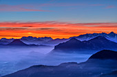 Morgenrot over Inntal, Loferer and Leoganger Steinberge and Kaiser Mountains, Farrenpoint, Bavarian Alps, Upper Bavaria, Bavaria, Germany