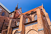 Gothic brick arches and walls of St, Georgen church,  Wismar stadt, western Mecklenburg–Vorpommern, Germany.