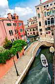 Multi-storey palace on canal with bridge, Campo San Boldo, Venice, Italy