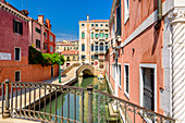 Multi-storey palace on canal with bridge, Campo San Boldo, Venice, Italy
