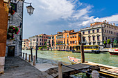 View over the Grand Canal to the vaporetto station San Marcuola Casino, Venice, Italy