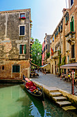 Canal with gondola in the San Polo district, Venice, Italy