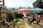 Mühlencafe, beliebter Ort um den Sonnenuntergang zu sehen, Zia, Dikeos-Gebirge, Insel Kos, Dodekanes