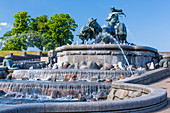 Gefion Fountain (Gefionspringvandet). Bronze fountain completed in 1908, Copenhagen, Zealand, Denmark