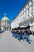 Frederiksgade street, the Danish Royal Guard march from Rosenborg Castle to Amalienborg Palace where the Changing of the Guard ceremony takes place, Copenhagen, Zealand, Denmark
